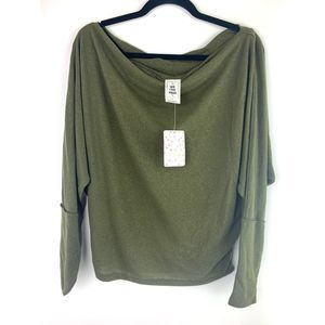 Free People Green Drapey Long Sleeve Top Sweater